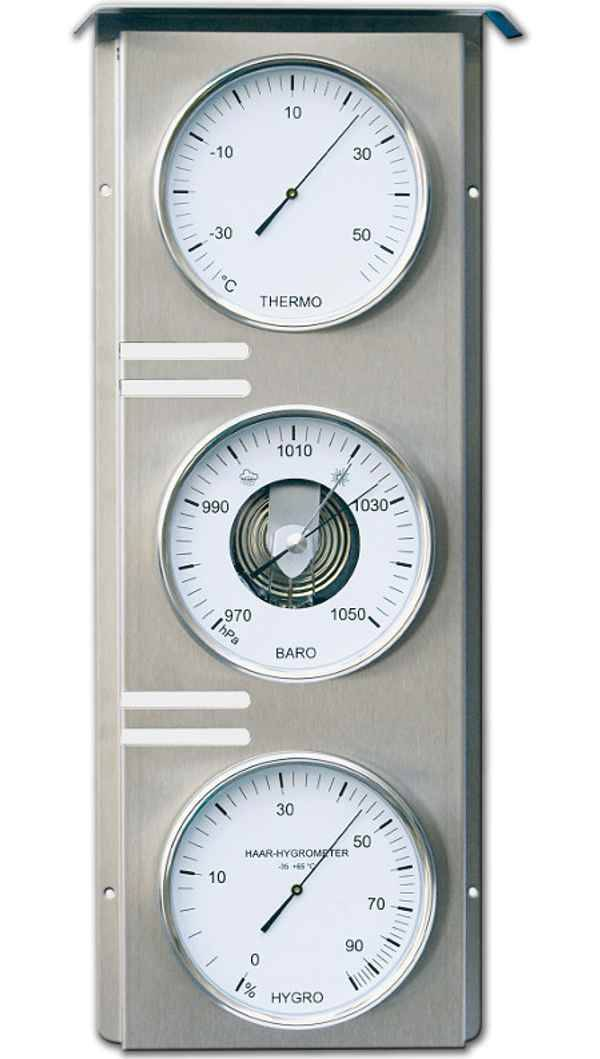 Fischer Baromètre Thermo Hygro GEANT d´exterieur inox brossé ( 510 mm de haut) Fischer F-823-01