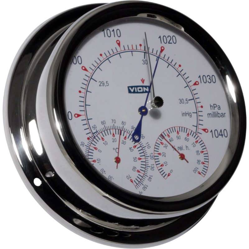 VION Baromètre  HI-SENS Thermo/Hygro intégré inox Diam: 150 mm VION V-A130-BTH