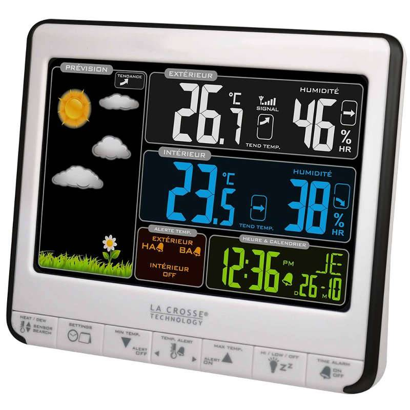 LA CROSSE TECHNOLOGY Station Météo   Thermo/hygro LCD Couleur, alarmes et prise USB de charge LA CROSSE TECHNOLOGY WS6826