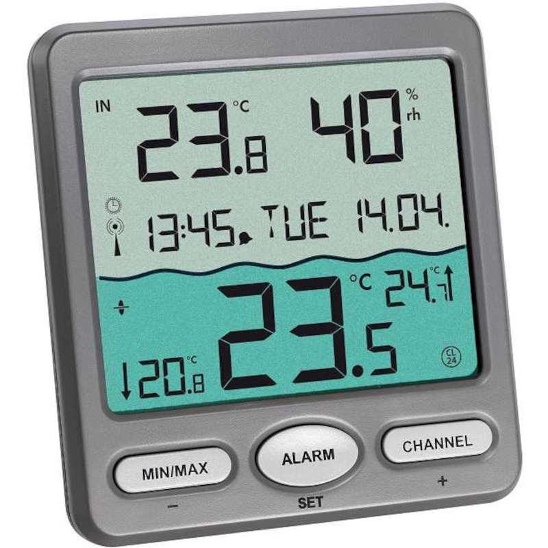 TFA Thermomètre de piscine solaire avec lecture à distance alarme et radiopiloté TFA T303056+8pilesxLR3