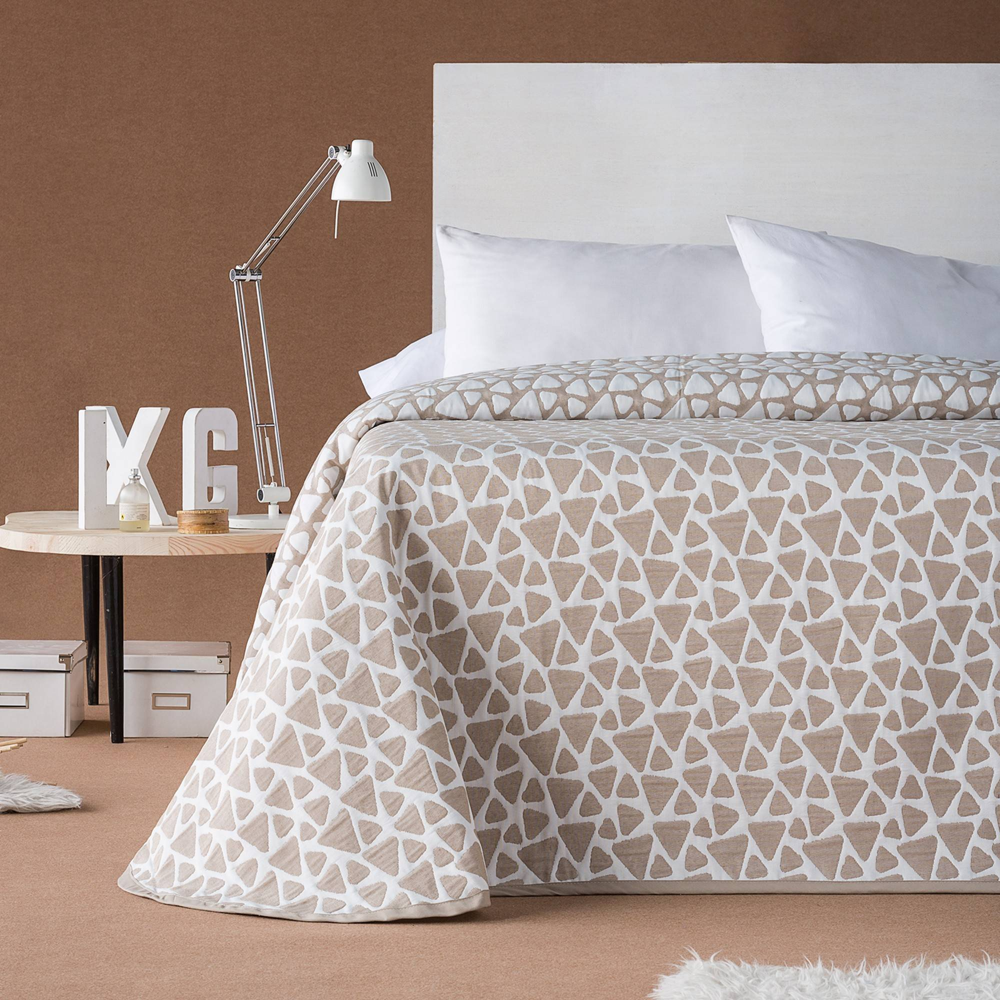 Couvre-lit jacquard Onix - Taupe - Blancheporte