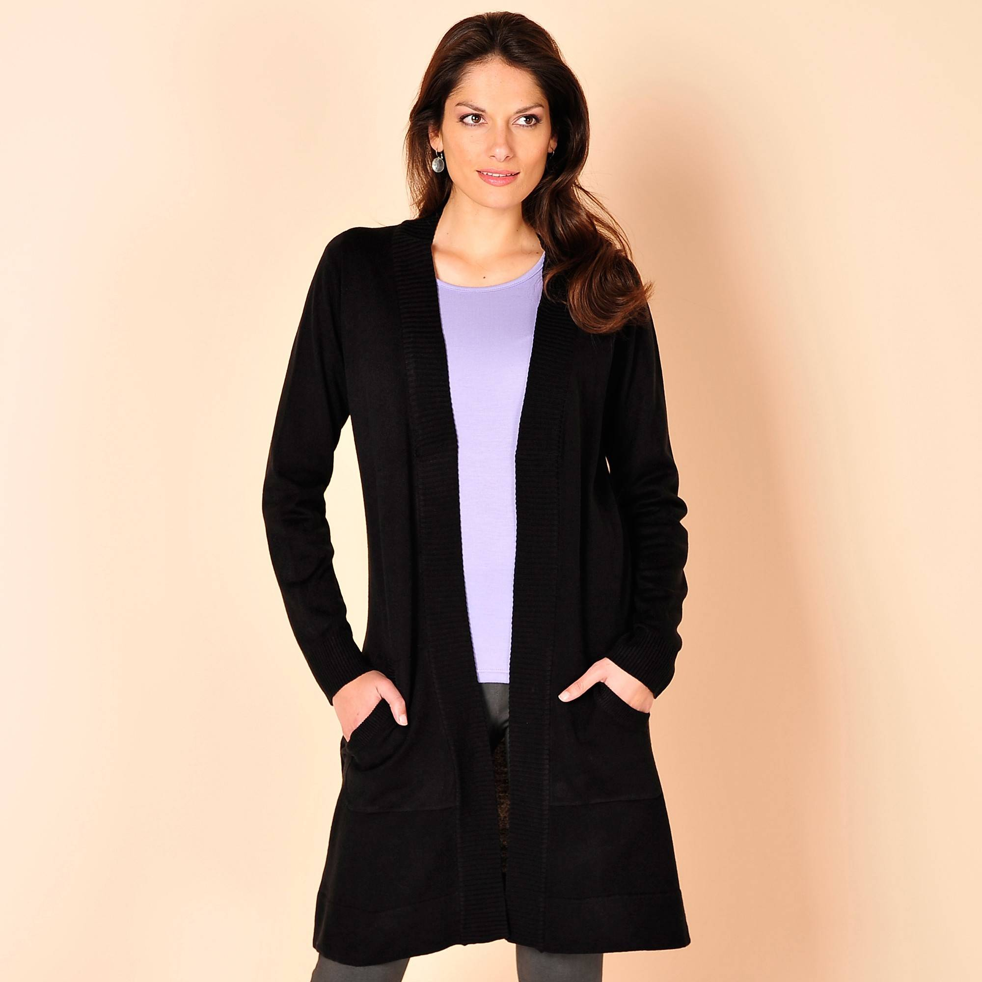Gilet long - Noir - Taille : 58 - Blancheporte