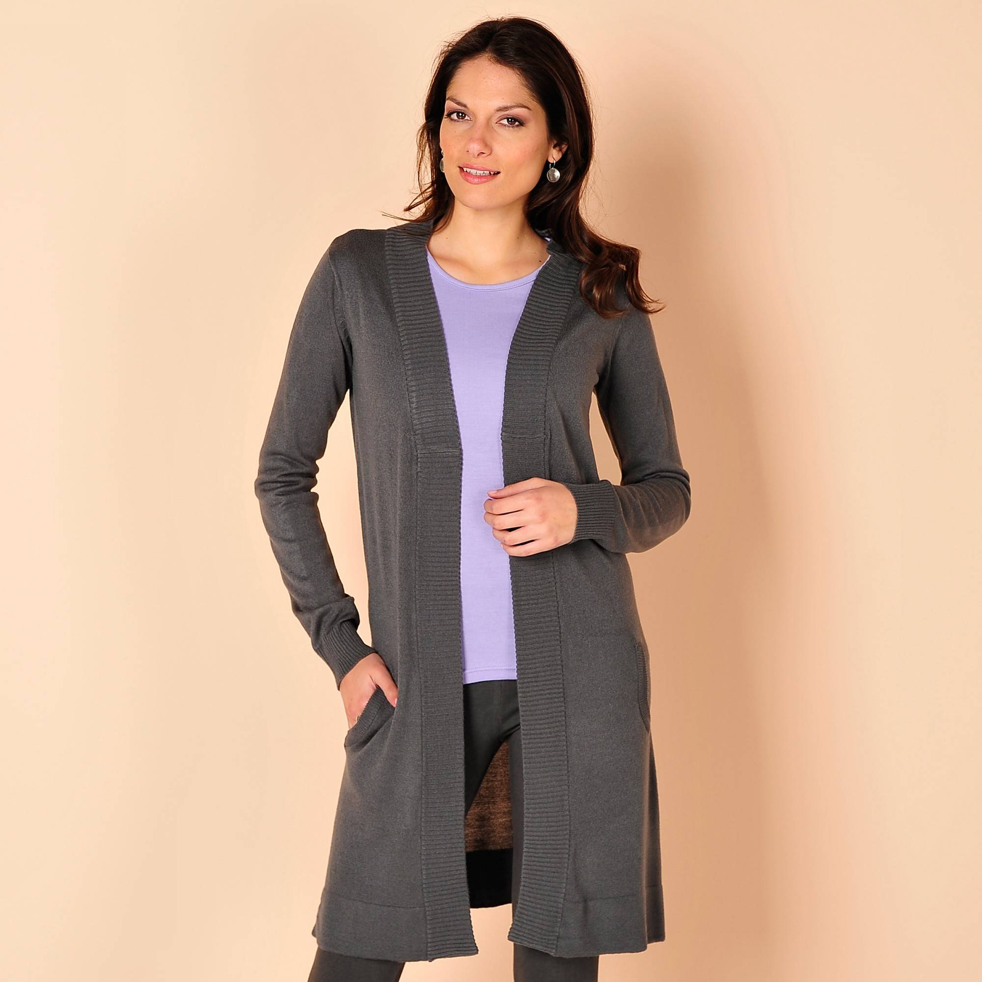 Gilet long - Gris - Taille : 58 - Blancheporte