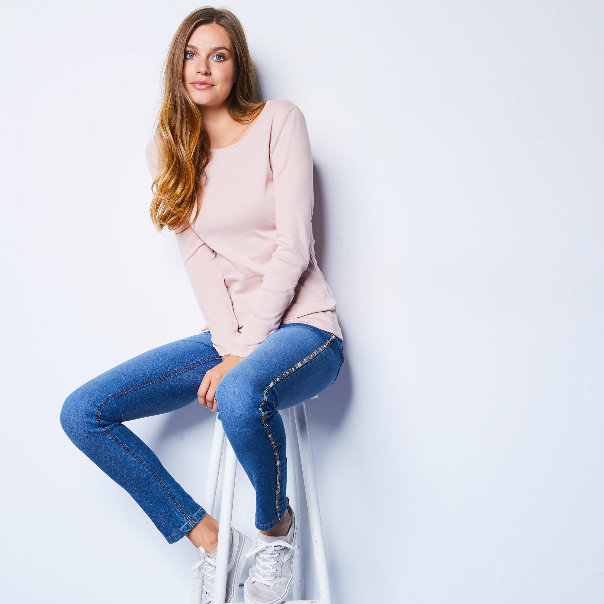 Tee-shirt manches longues - rose poudré - Rose - Taille : 46,48 - Blancheporte