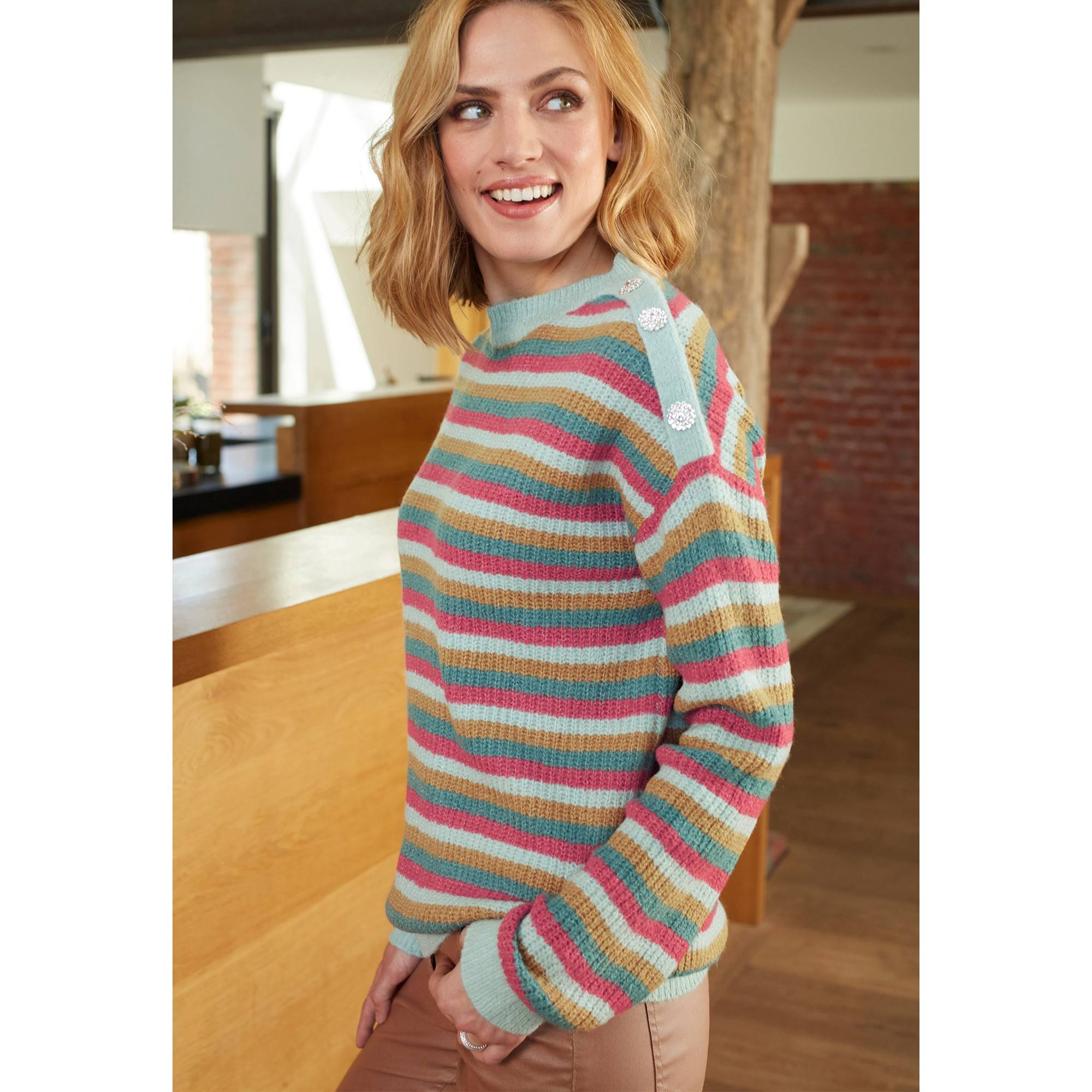 Pull rayé en maille tricot - Vert - Taille : 38,40 - Blancheporte