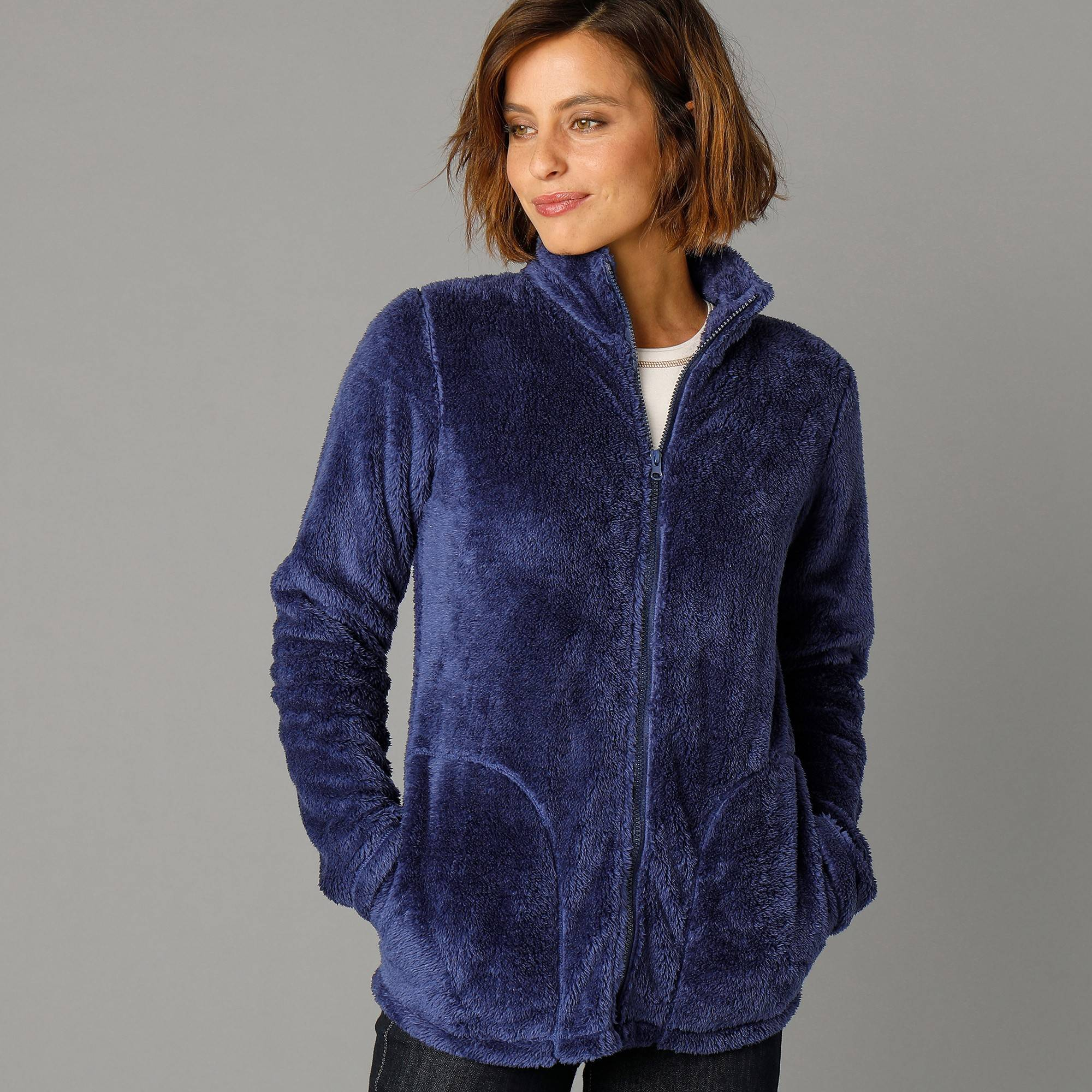 Casual Collection Veste maille peluche - Bleu - Taille : 56 - Blancheporte