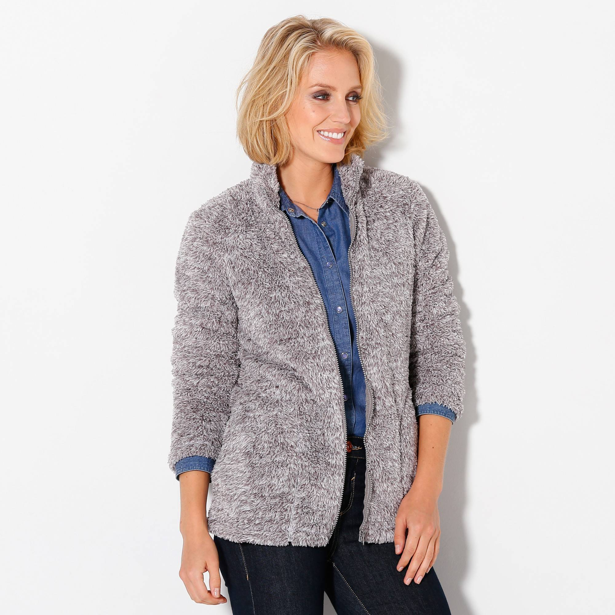 Casual Collection Veste maille peluche - Gris - Taille : 42,44 - Blancheporte