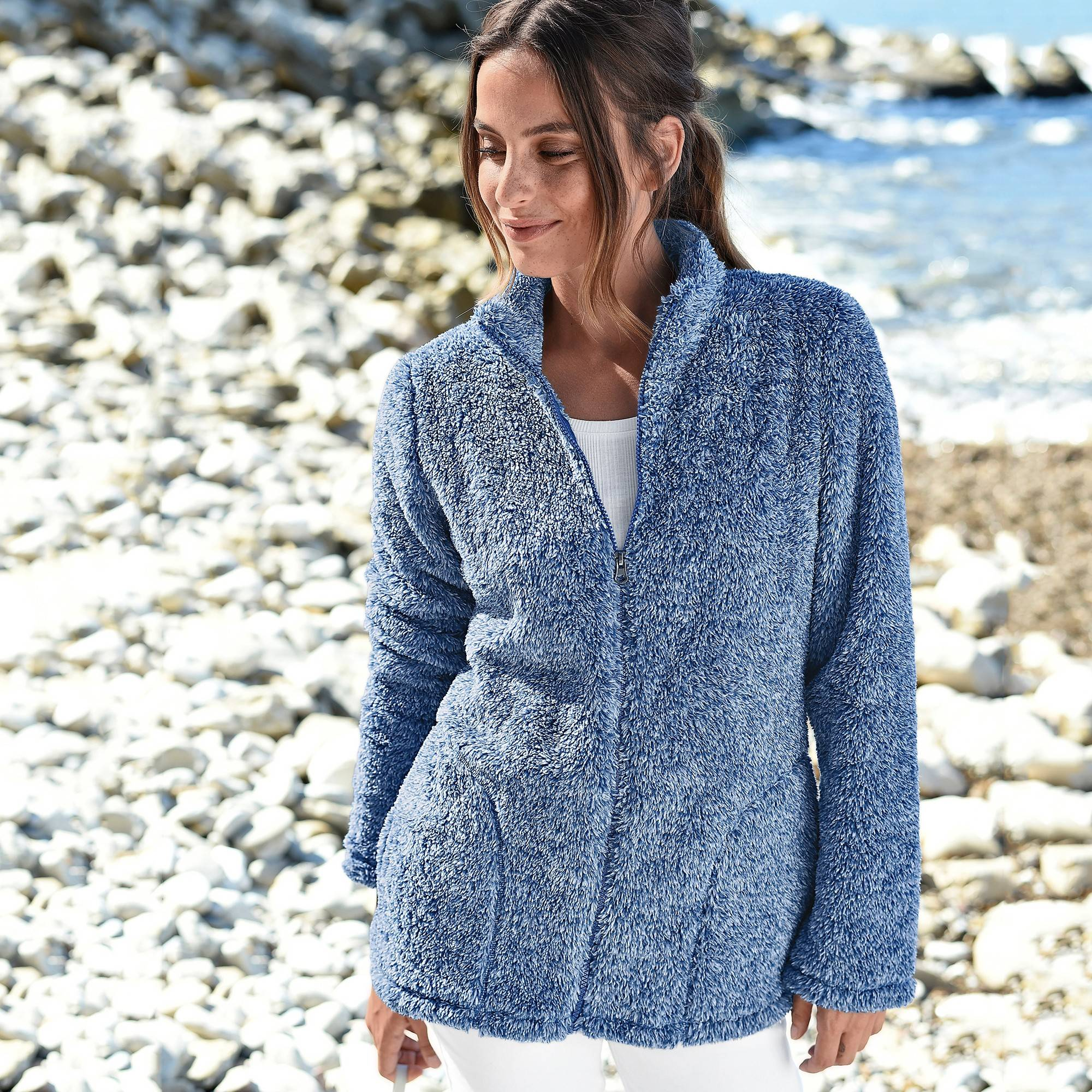 Casual Collection Veste maille peluche - Bleu - Taille : 46,48 - Blancheporte