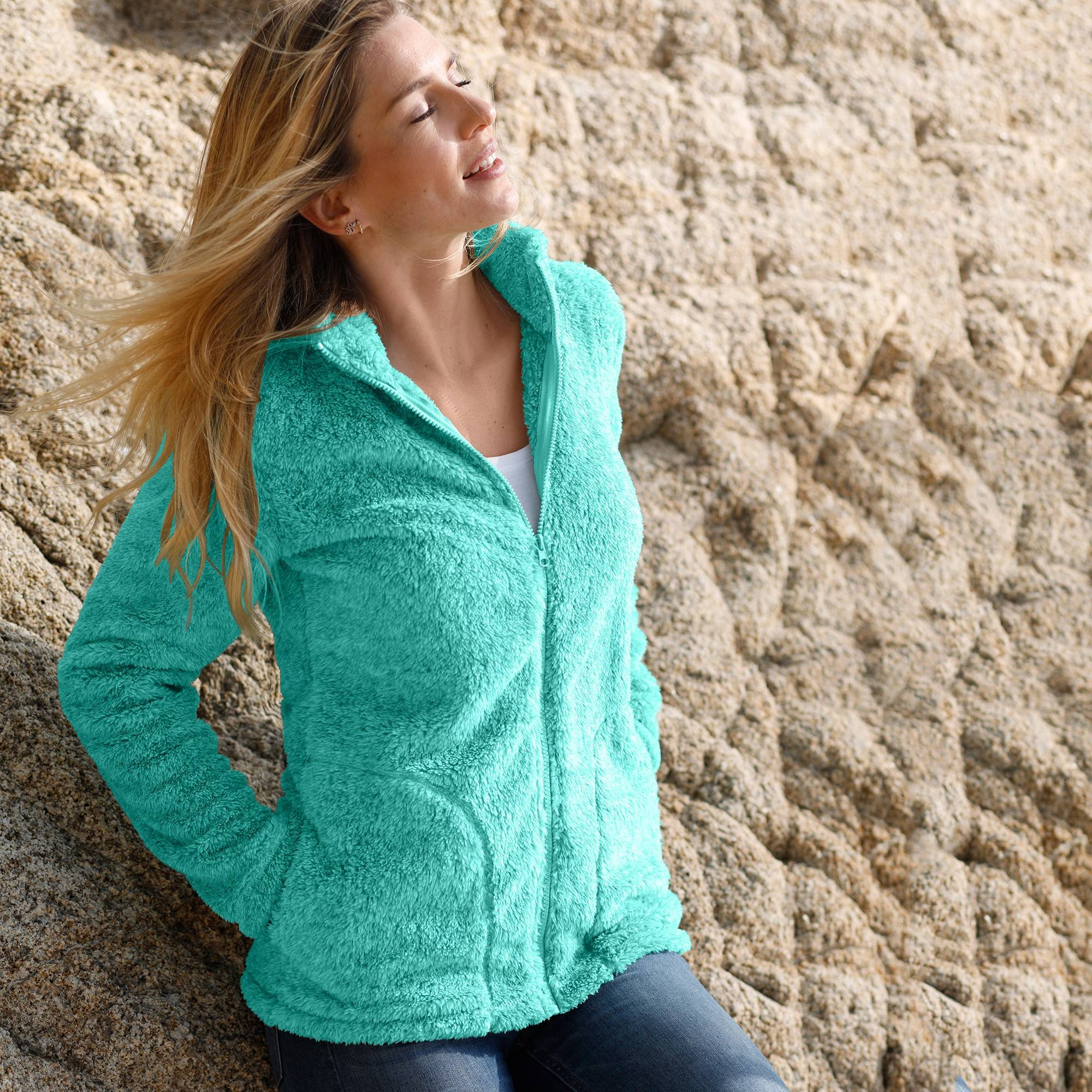 Casual Collection Veste maille peluche - Turquoise - Taille : 52 - Blancheporte