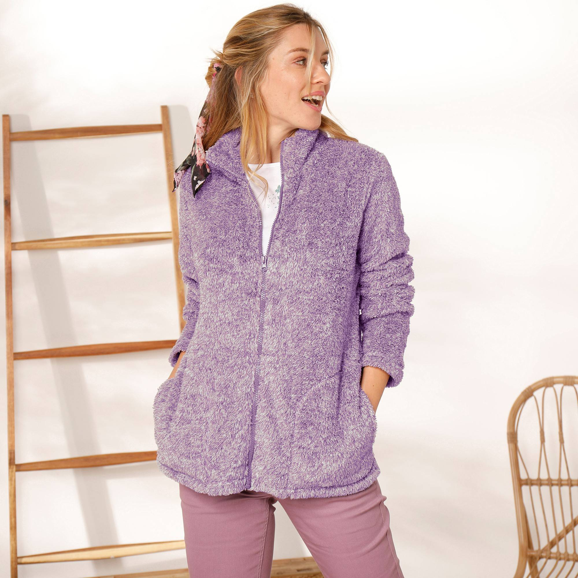 Casual Collection Veste maille peluche - Violet - Taille : 52 - Blancheporte