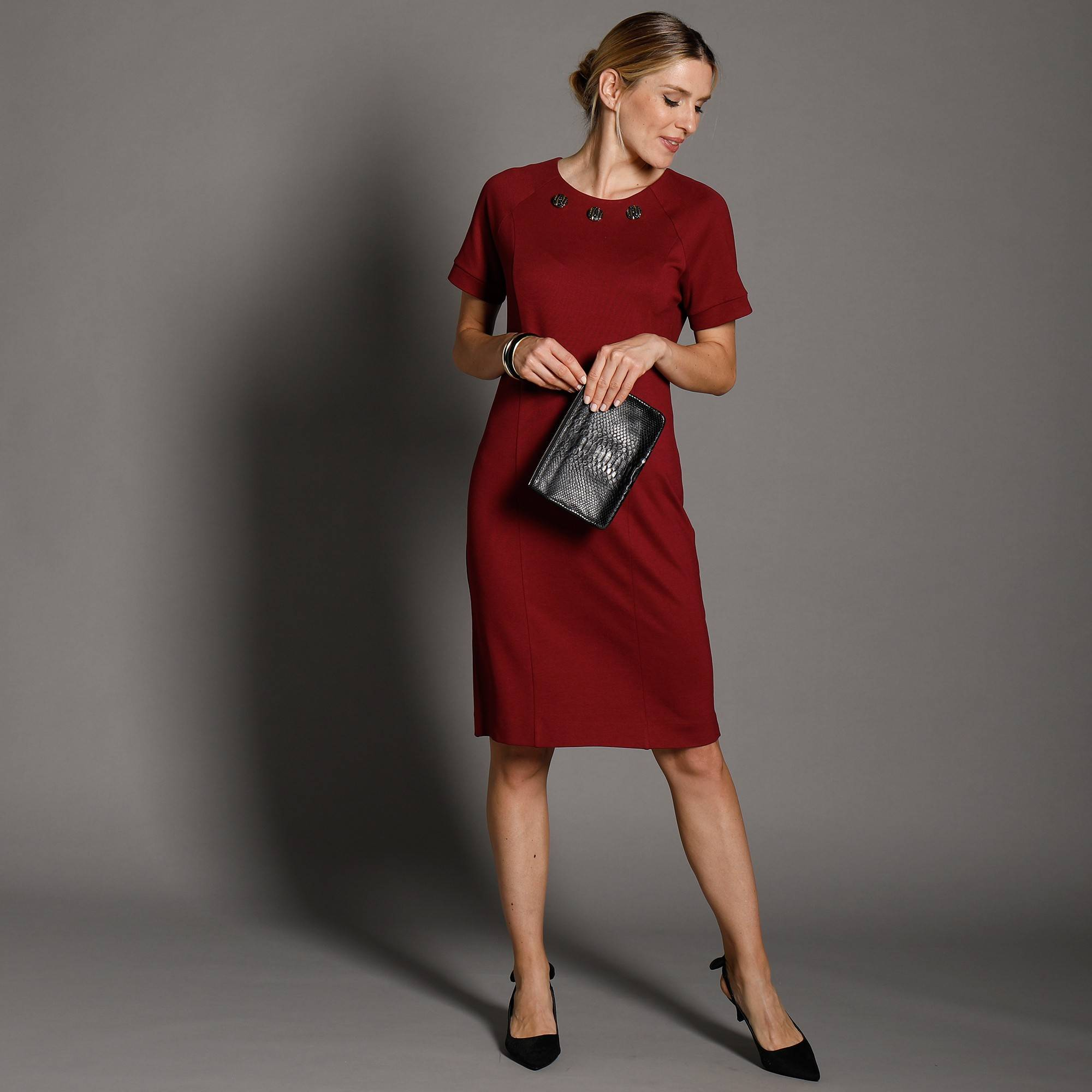 Robe unie col boutons fantaisies - Rouge - Taille : 46,48 - Blancheporte
