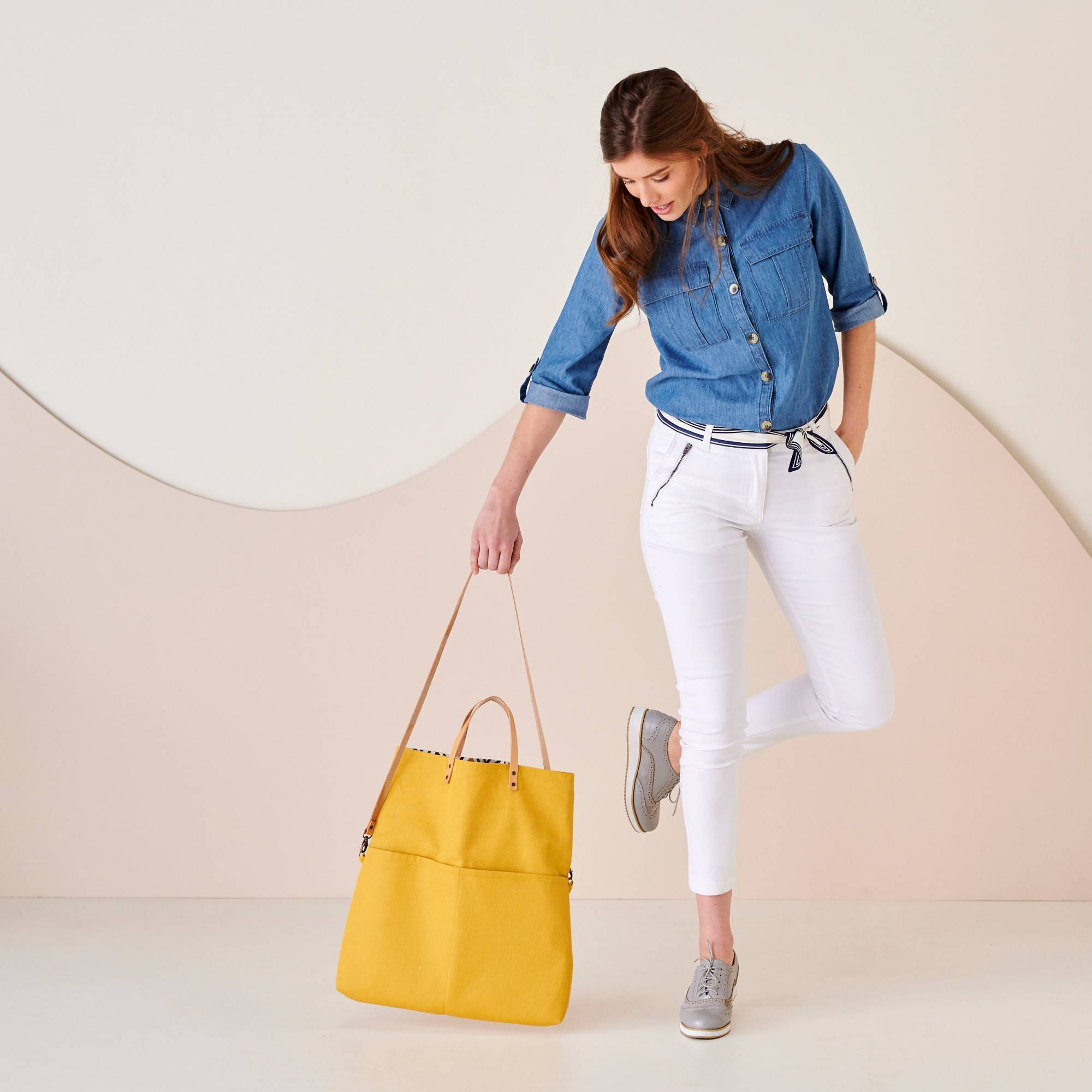 Sac shopping transformable en besace, fabrication éco-responsable - Jaune - Taille : TU - Blancheporte