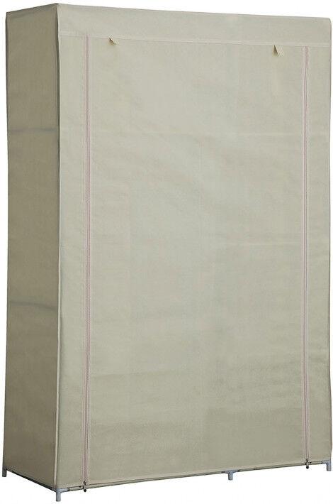 Destock Meubles Armoire démontable tissu beige 3 étagères 1 penderie 2 fermetures zip