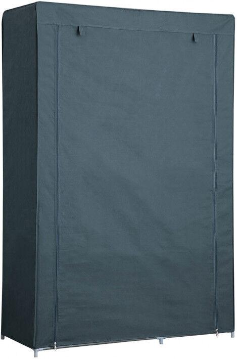 Destock Meubles Armoire démontable tissu gris 3 étagères 1 penderie 2 fermetures zip