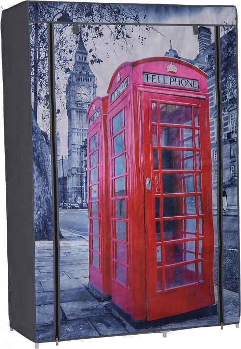 Destock Meubles Armoire démontable tissu imprimé London 3 étagères 1 penderie 2 fermetures zip