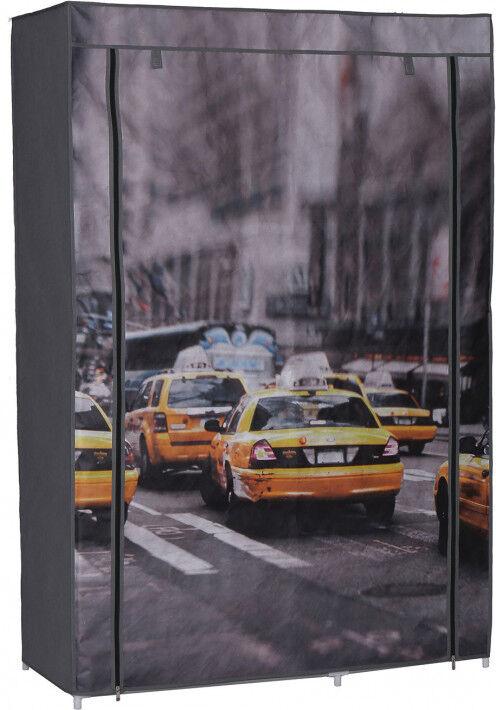 Destock Meubles Armoire démontable tissu imprimé New York 3 étagères 1 penderie 2 fermetures zip