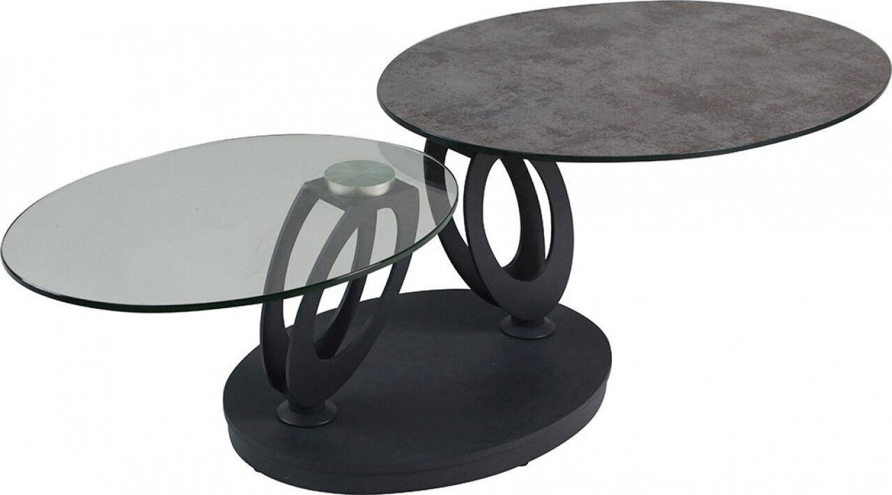 Destock Meubles Table basse design double plateau en verre