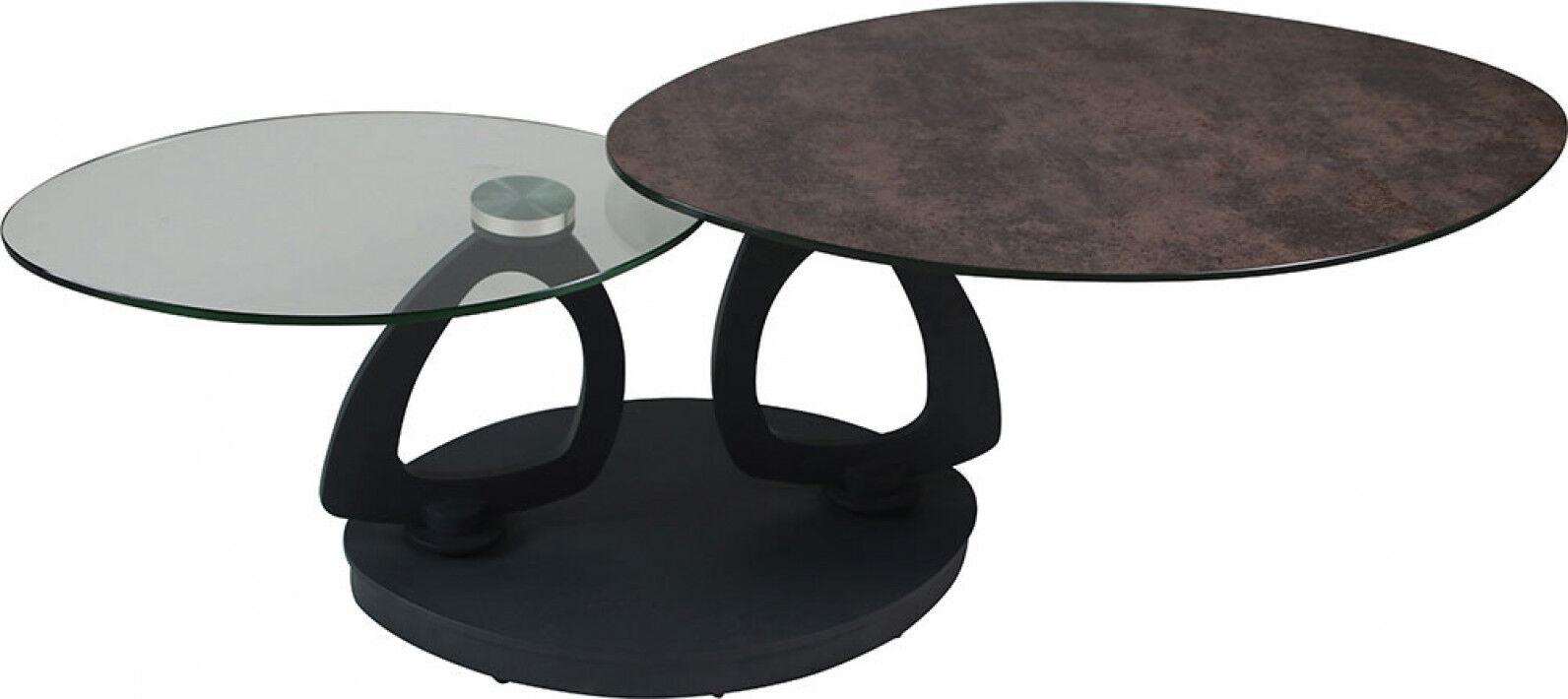 Destock Meubles Table basse design double plateau en verre anthracite et transparent