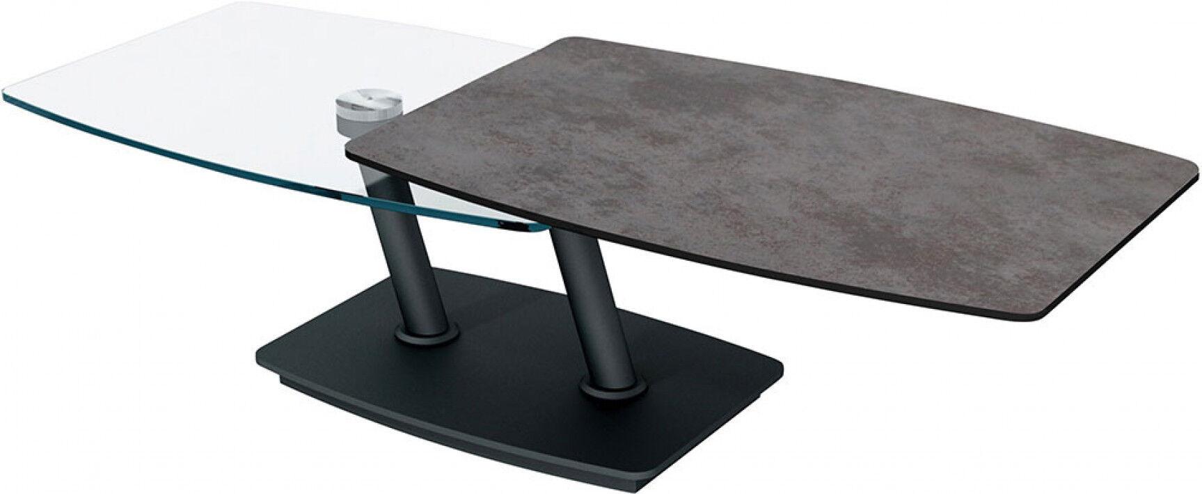 Destock Meubles Table basse design double plateau en verre rectangulaire