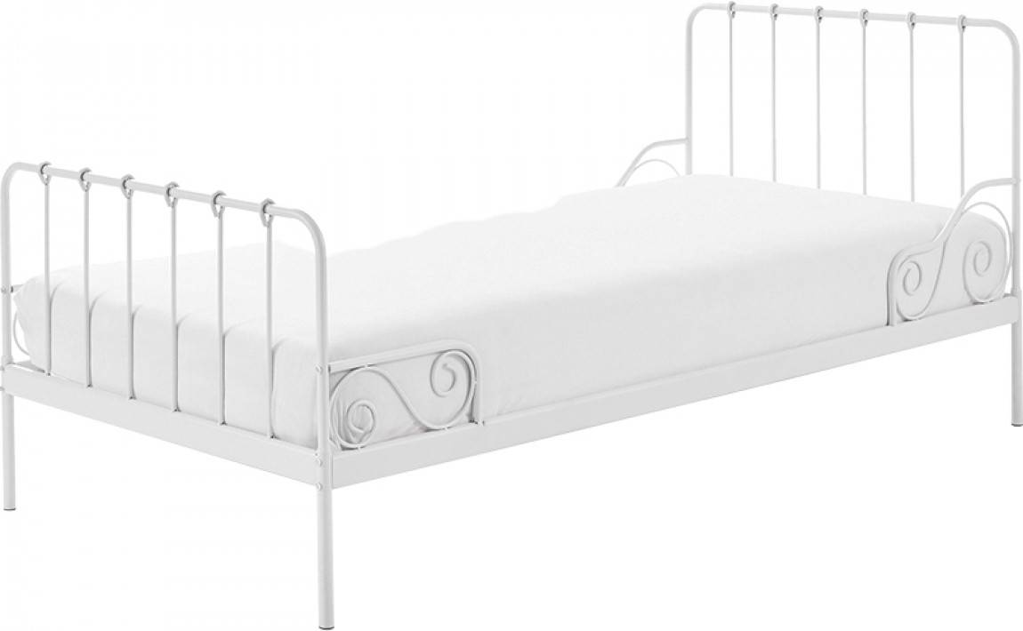 Destock Meubles Lit enfant métal laqué blanc 90x200 ALICE