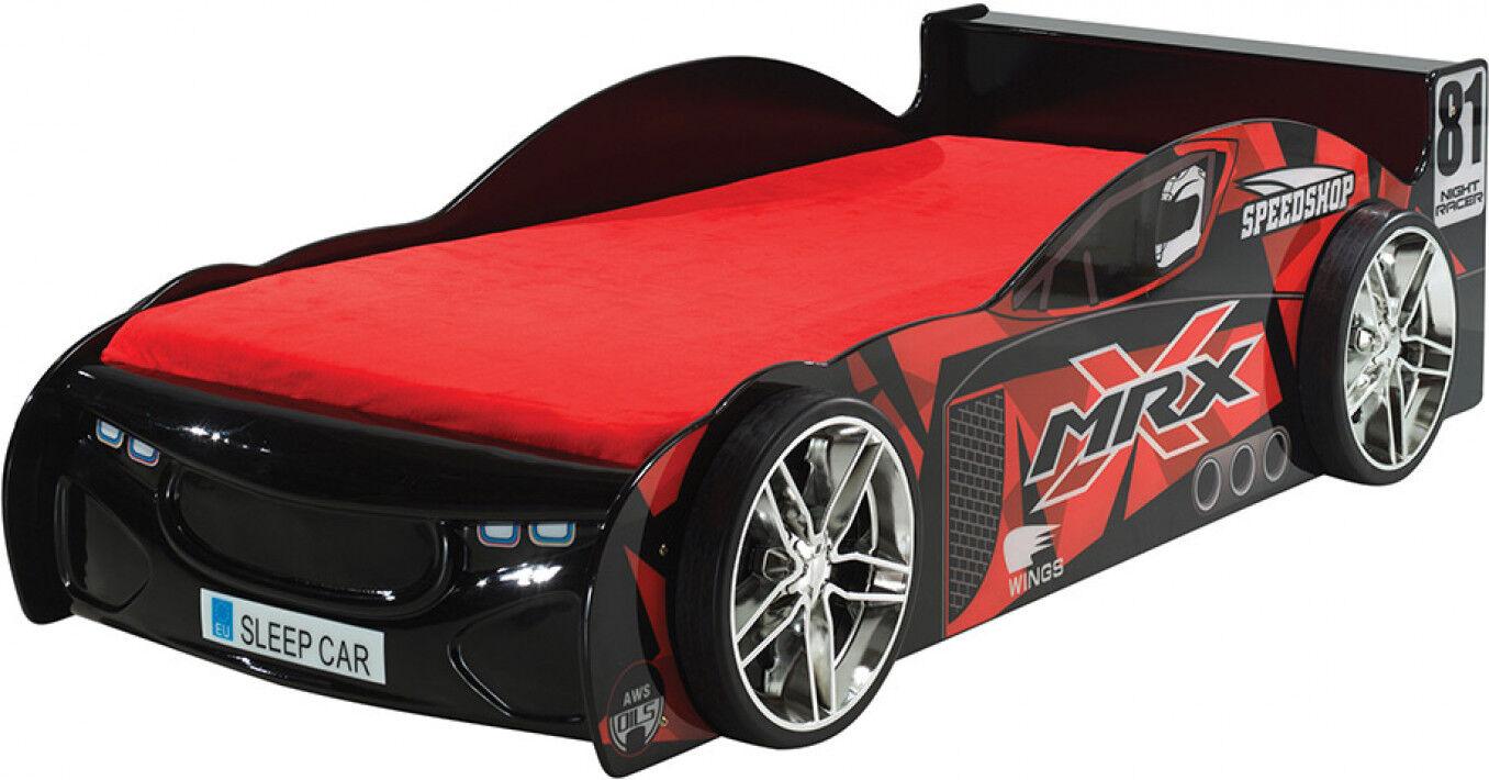Destock Meubles Lit enfant voiture de course noir 90x200