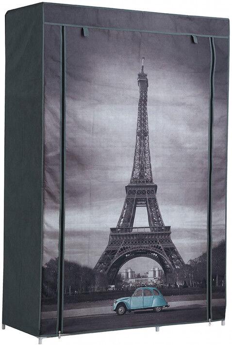 Destock Meubles Armoire démontable tissu imprimé Paris 3 étagères 1 penderie 2 fermetures zip