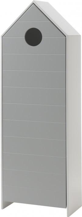 Destock Meubles Armoire enfant blanc 1 porte gris 3 étagères