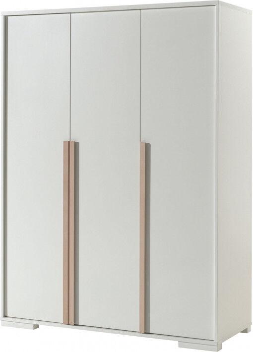 Destock Meubles Armoire enfant blanc 3 portes 3 lignes bois clair