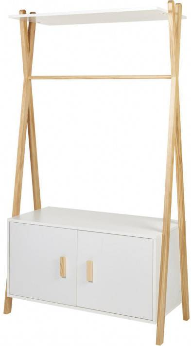 Destock Meubles Armoire enfant pin blanc 2 portes 1 étagère