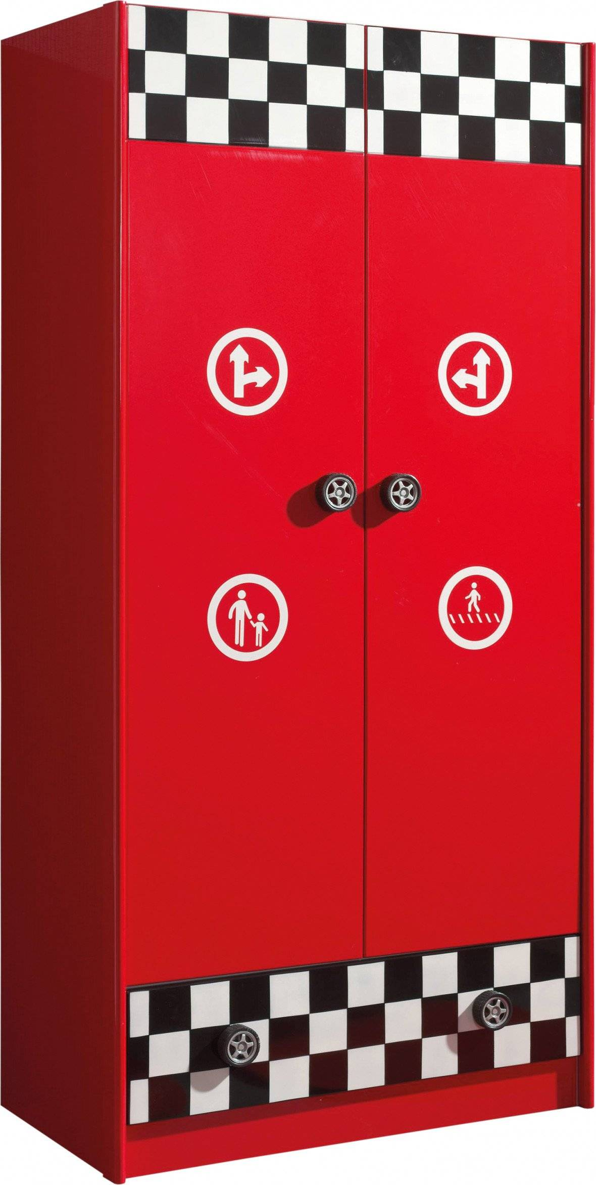 Destock Meubles Armoire enfant pompe essence rouge 2 portes 1 tiroir