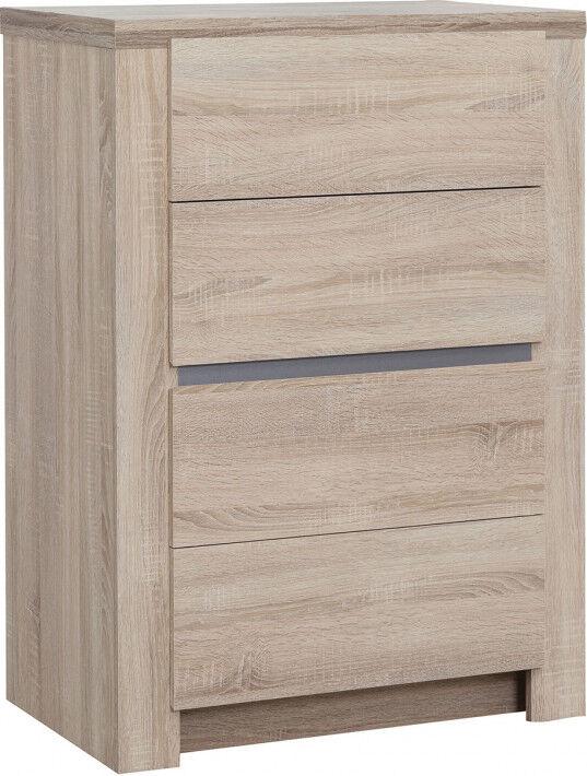 Destock Meubles Chiffonnier ton chêne 4 tiroirs bande alu décorative
