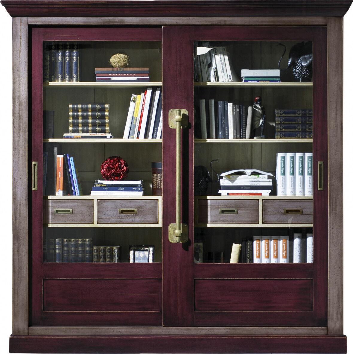 Destock Meubles Grande bibliothèque chêne massif gris et prune 2 portes coulissantes vitrées