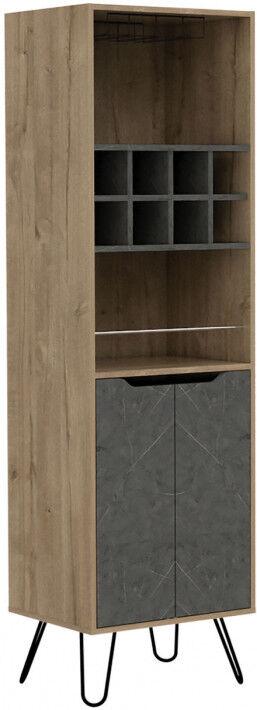 Destock Meubles Meuble bar bois mélaminé effet pin et pierre 2 portes 8 clayettes à bouteilles 1 porte-verre
