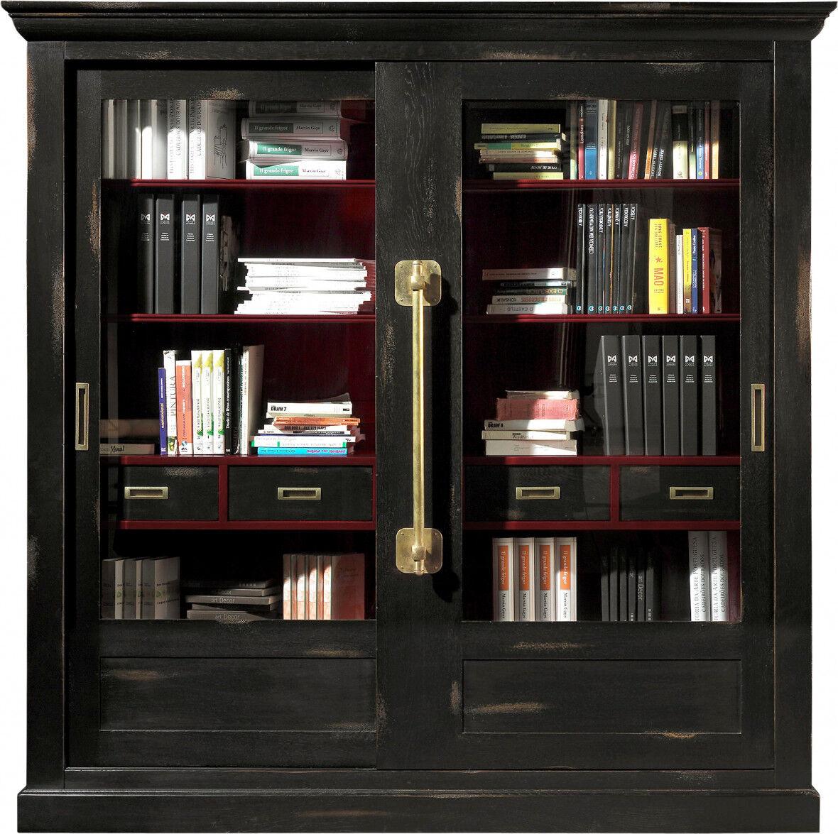 Destock Meubles Grande bibliothèque chêne massif noir 2 portes coulissantes vitrées