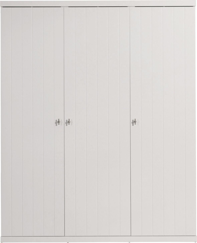 Destock Meubles Armoire enfant laqué blanc 3 portes ROBIN
