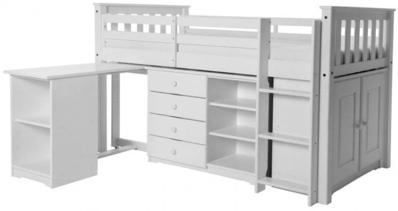 Ensemble chambre enfant lit mi-hauteur + bureau + rangements pin massif blanc ARNO