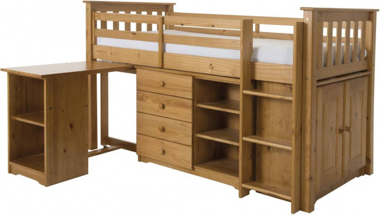 Ensemble chambre enfant lit mi-hauteur + bureau + rangements pin massif miel ARNO