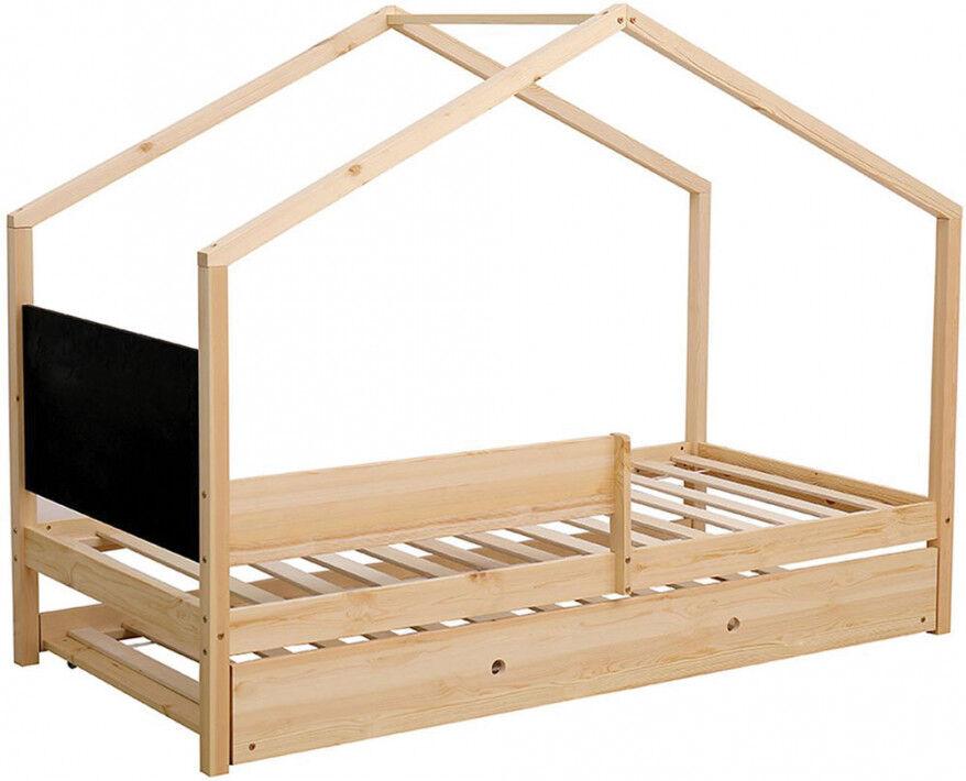 Destock Meubles Lit enfant cabane pin massif 1 tiroir 1 tableau ardoise sommier inclus