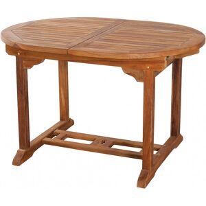 Destock Meubles Table ovale teck naturel 1 allonge papillon L120 - Publicité