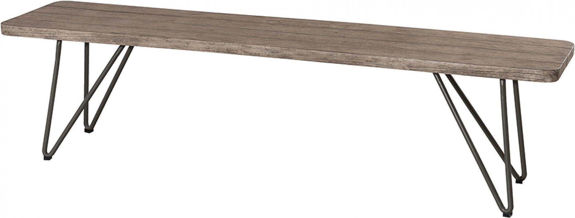 Destock Meubles Banc de jardin acier gris assise teck naturel pieds scandi