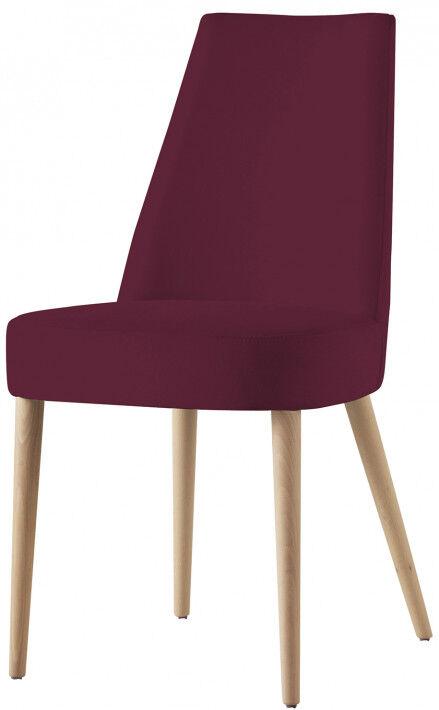 Destock Meubles Chaise design hêtre massif tissu prune