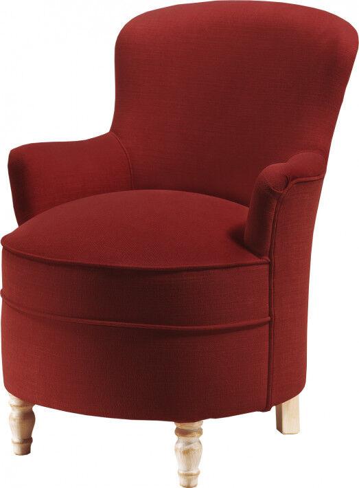 Destock Meubles Petit fauteuil assise arrondie tapissé tissu rouge pieds tournés laqués blanc