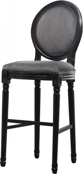 Destock Meubles Tabouret de bar médaillon lin gris pieds bois noir