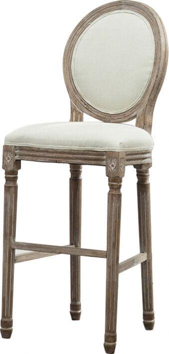 Destock Meubles Tabouret de bar médaillon lin beige pieds bois noir