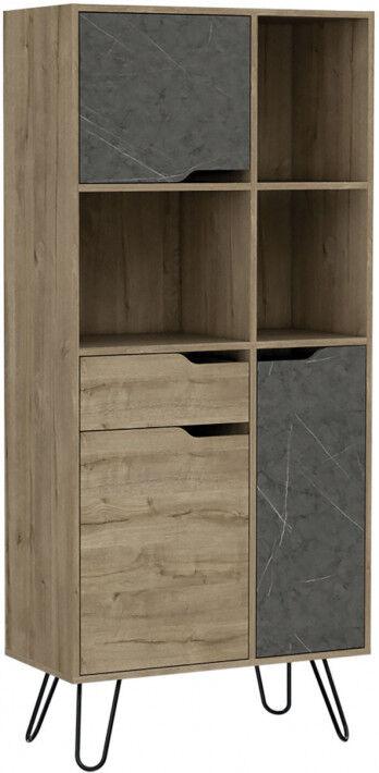 Destock Meubles Bibliothèque bois mélaminé effet pin et pierre 3 portes 1 tiroir 3 niches