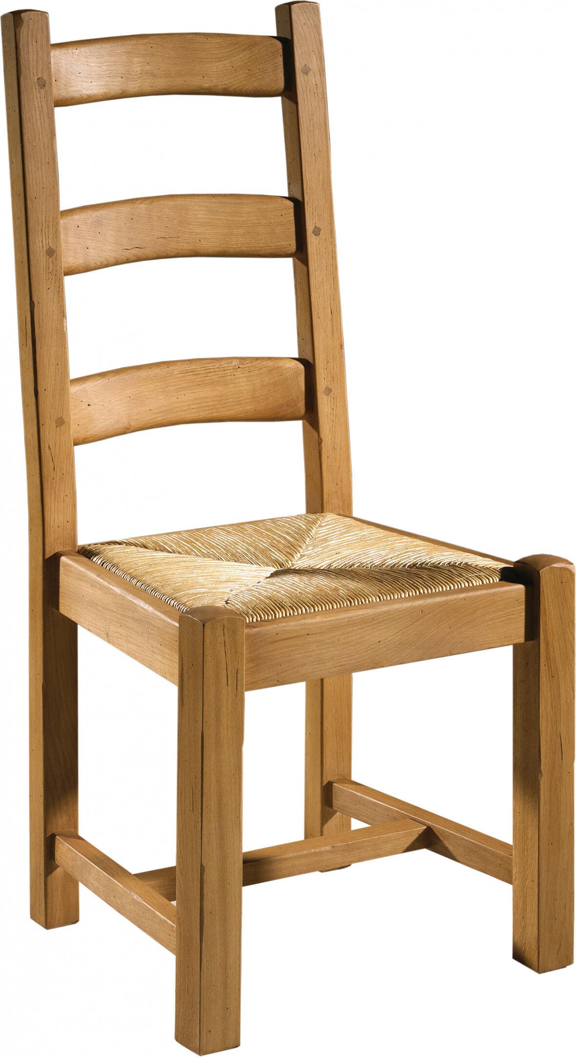 Destock Meubles Chaise chêne assise paille 3 barreaux
