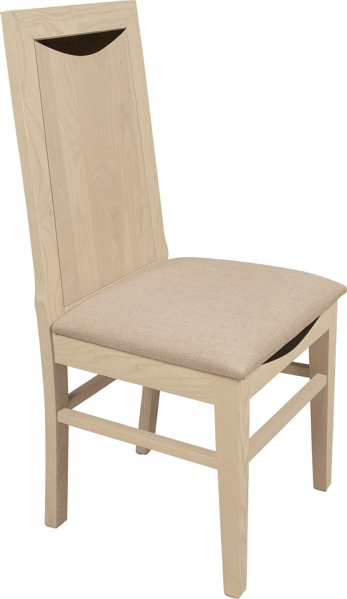 Destock Meubles Chaise chêne massif blanc pierre assise tapissés dossier bois