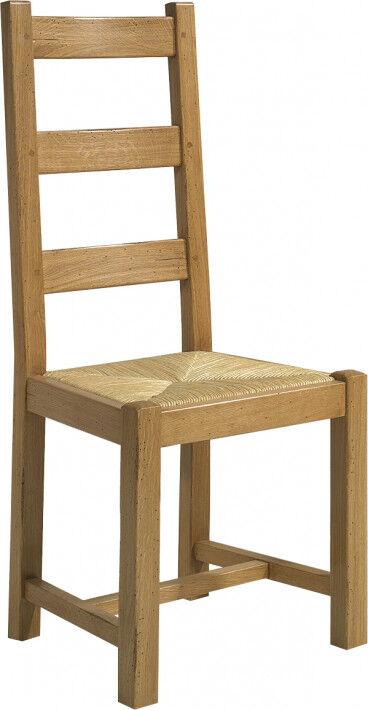 Destock Meubles Chaise chêne massif doré antiquaire assise paille