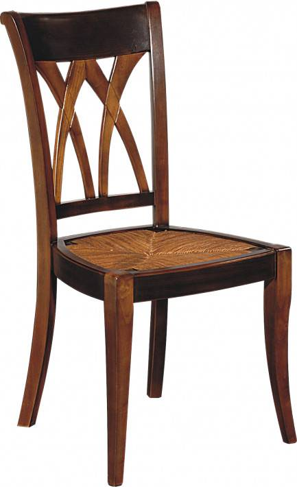 Destock Meubles Chaise merisier assise paille dossier croisillons