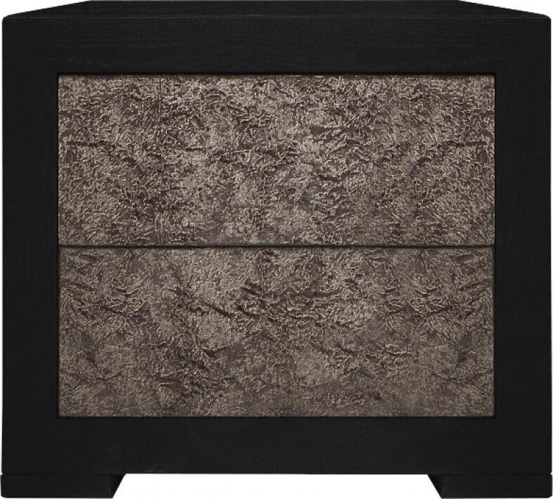 Destock Meubles Chevet chêne noir 2 tiroirs étoffés velours chocolat